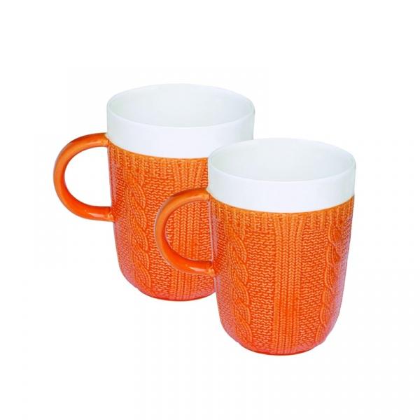 Zestaw porcelanowych kubków w opakowaniu 2 szt. Nuova R2S pomarańczowy 008 ORA