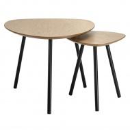 Zestaw stolików kawowych JOY orzech - MDF, nogi dębowe