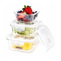 Zestaw szklanych pojemników na żywność 3szt. Lamart CAN