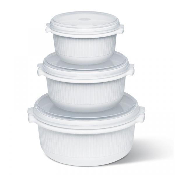Zestaw trzech pojemników kuchennych 0,5/1,0/1,5 L EMSA Micro Family białe EM-459061200