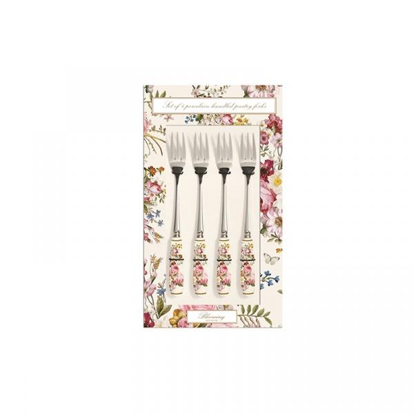 Zestaw widelczyków z porcelanowym uchwytem 4szt Nuova R2S Blooming Opulence biały kwiaty 969 BLOC